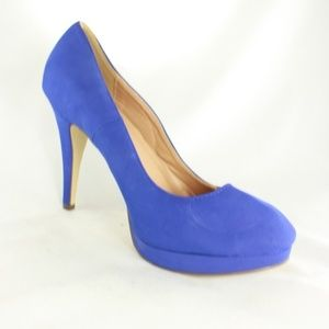 New JOURNEE COLLECTION Blue Suede Pump Heels